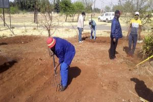 Schulungsteilnehmer bei Bodenvorbereitung