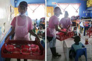Verteilung von Vitality Porridge im Klassenraum